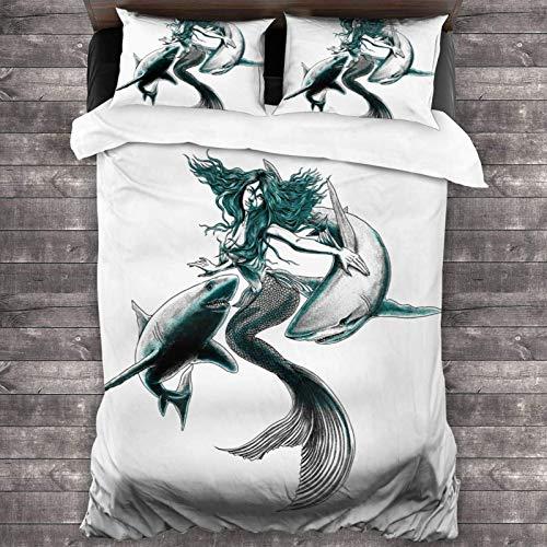 Yuanmeiju Bettwäsche-Set Shazam! Soft Microfiber Polyester 3 Piece Luxury Lightweight Bedding Set Bed for Adults Kids 1 Comforter Cover + 2 Pillowcases