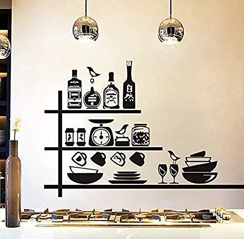 Home Muurstickers Pottenbakkerij Kruidenrek Muurstickers Waterdicht Vinyl Zelfklevende Muurstickers Creatieve DIY Behang Keuken Restaurant 85X58Cm