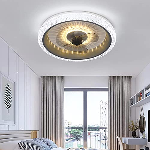 Beeki Ventilador de techo con luz de techo de cristal ligero con luces Dormitorio Dormitorio Control remoto silencioso Ventilador regulable Luz de techo 6 velocidades Luces de ventilador de temporizad