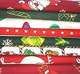 8 Stück 100 % Baumwolle Weihnachten Stoff Quadrate 50,8 x