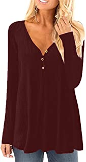 HAPPIShare Women's Fall Long Sleeve V Neck Button Side Split Loose Casual Pullover Tunic Tops