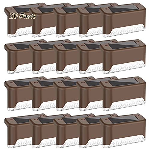 20-Pack Solar Deck Lights, Solar Powered Step Light Waterproof, LED Outdoor Fence Lighting Bronze Finished for Decks Stairs Patio Path Yard Garden Decor, Warm White