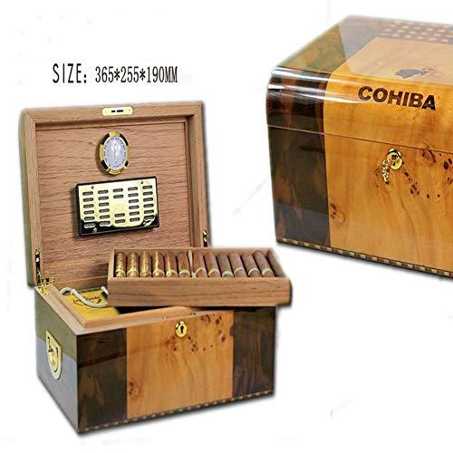 LINLIN Ceder hout hydraterende opslag sigaar box houder goed afdichting ontwerp met Hygrometer en luchtbevochtiger 36,5 * 25,5 * 19cm