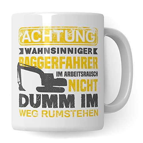 Pagma Druck Tasse Baggerfahrer, Bagger Geschenk, Geschenkidee für Baumaschinenführer & Bagger Fahrer Becher, Kaffeetasse Baumaschinen Baggerführer Baustelle Kaffeebecher