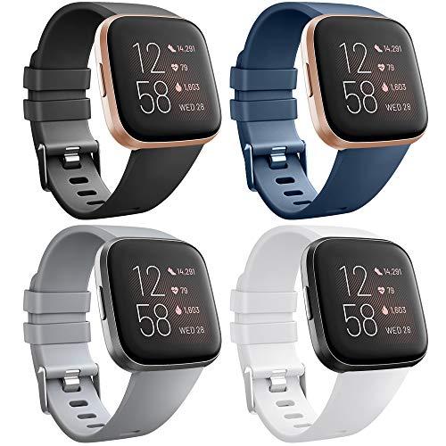 AK para Fitbit Versa Correa, Bandas Repuesto Ajustable Pulsera TPU Sport Accesorio Pulsera para Fitbit Versa Pequeño Grande (4-Pack Black+Navy Blue+Grey+White, L)