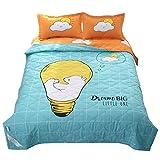 Funda nórdica de verano y 2 fundas de almohada de 1,5 tog, diseño de dibujos animados, lavable a máquina Trendy Quilt cama para sillas o sofá 033 (color: B, tamaño doble)