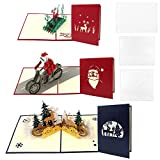 Kulannder 3D Pop Up Christmas Cards, 3 Pcs Christmas Cards Greeting Holiday Cards Gifts Handmade 3D Cards with Envelop for Xmas New Year
