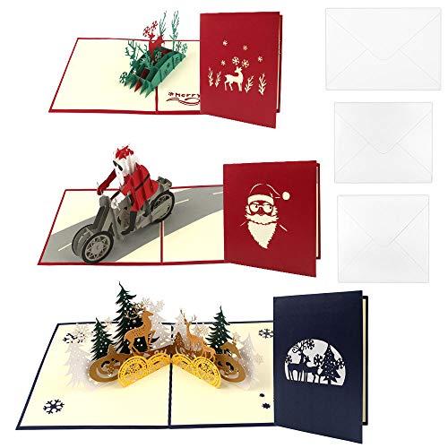 3pcs Tarjeta de Navidad 3D, Navidad Tarjetas Tarjeta de Feli