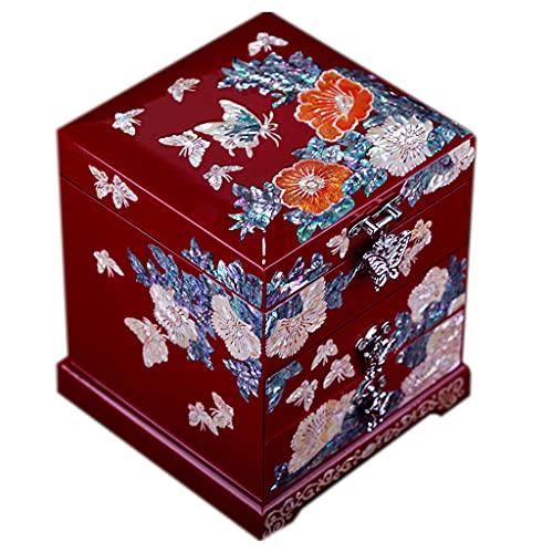 ShiLiLiShop Caja de Almacenamiento de Gran Capacidad para joyero Adecuado para Pendientes Anillos Pulseras joyeros con Cerradura