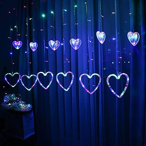 BOLLAER Luces navideñas, cortina, luces de cortina de ventana, decoración para Navidad, boda, fiesta, decoración del hogar (color)