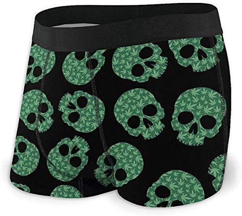 xianjing6 Herren Unterwäsche Boxershorts Hemp Skull Men's No Ride Up Polyester Spandex Boxer Brief Breathable Underwear