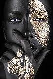 ZLLM Cuadros para Pintar por NumerosMujer Africana De Oro Negro-A,para Niños Adultos Kit De Pintura Al Óleo DIY Principiante 40.8X50.6 cm Sin Marco