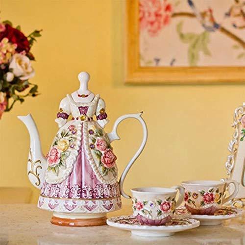 Weingläser Kaffeebecher Geschenk KreativeHandgemalte Geprägte Rose Keramik Kaffeetasse Und Kanne HochzeitSchönheit Prinzessin Wunderschönes Kleid Keramik Tee Set