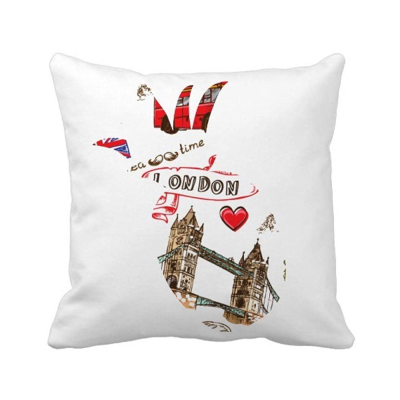 プラスチック品合体愛の心の塔バス車英国イングランドの旗マークハンバーガーランドマークイラストパターン パイナップル枕カバー正方形を投げる 50cm x 50cm