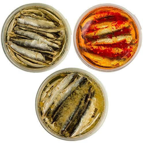 Food-United Fisch-Set - SARDELLENFILETS - 3 x 280g -Sonnenblumenöl-Sardellen & Rote-Chili-Sardellen & Zitronen-Sardellen – für Pizza-Pasta-Nudeln-Antipasti-Salat saftig-zart