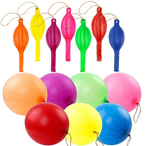 RUBFAC 36 Punch Balloons, Party Favors Neon Punching Balloons 18 Inches Assorted Colors Large Punch Balls for Birthday Fun Games Wedding Decoration