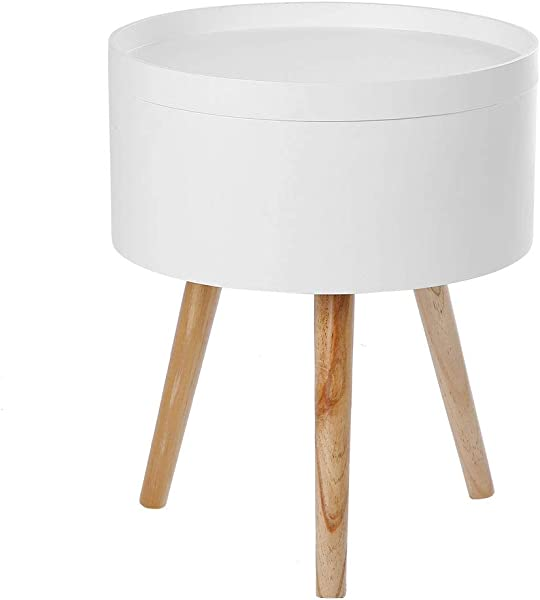 Coffee Table Modern Style Solid Storage Round Side End Table With Tabletop Tray Design 15 X 18 Inch White