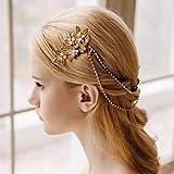 AW BRIDAL Wedding Hair Comb Bridal Hair Chain Draped Headpiece Vintage Wedding Hair Accessories for Bride (Gold)
