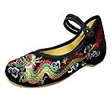 SMITHROAD Damen Ballerina Schuhe mit Stickerei Chinesischer Drache 3CM Blockabsatz Stoff Halbschuhe Sandalen mit Riemen,Schwarz Gr.38