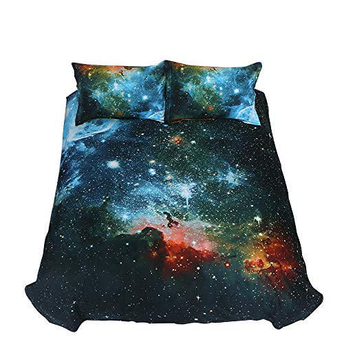 ZHH 3D Duvet Cover Sets Twin Size Galaxy Space Pattern Kids Bedding Set Ultra Soft Starry Theme Quilt Cover for Boys, Kids and Teens (1 Duvet Cover + 2 Pillowcases) (Twin, Galaxy B)