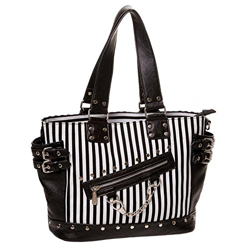 Banned Gothic Damen Handtasche - Schultertasche Handschellen, Nieten und Schnallen (Schwarz/Weiß)