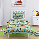 Transportation Animals Kids Boys Bedding Set Duvet Cover + Pillowcase to fit Cot/Cot Bed/Toddler Bed 100% Cotton (120x150 cm (47'x59'))