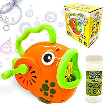 WhizBuilders Bubble Machine for Kids Toddlers Fish Bubbles Blower Wands Toys Gift with Big Bubble Solution Refill  Summer Outdoor Pool  Giant Large Water Bubbles Maker Hand Manual Baby Toys