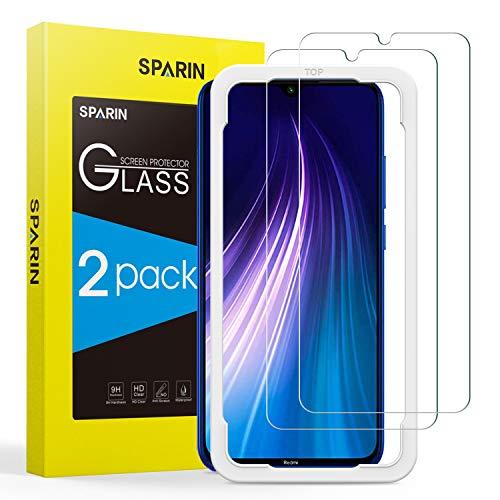 SPARIN Protector de Pantalla Compatible con Xiaomi Redmi Note 8 / Note 7, Cristal Templado con Marco de Alineación, Alta Definición, 2 Piezas