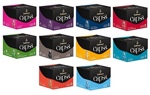 Dallmayr capsa Spar- und Probierset - 100 Nespresso kompatible Kaffeekapseln - 10 verschiedene Sorten Lungos und Espressi (10x10 Kapseln / 560g)