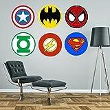 Logos de superheroes Marvel o DC como Superman, Spiderman, Batman, Capitán América, Linterna Verde, Flash. Pegatinas adhesivas decorativas gigantes de pared., vinilo, verde, Large - each logo 60cm wide