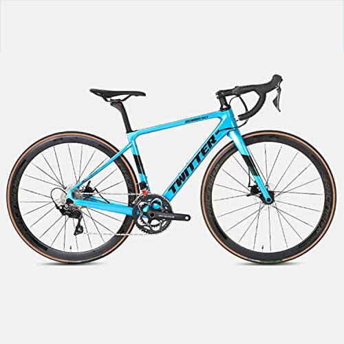 Yinhai Carbon-Rennrad, Shimano 105 / R7000 700C Carbon-Rennrad Mit Shimano 105 / R7000 22-Gang-Umwerfersystem Und Doppelscheibenbremse,Blue 51cm