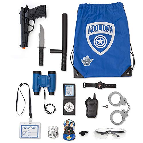 Police Role Play Kit - 15 Piece - Cop Toy Set - Gun Badge Handcuffs Binoculars - Policeman Accessories Swat Team - Detective Gear For Dress Up and Kids Costumes - Officer Bag for Halloween Included