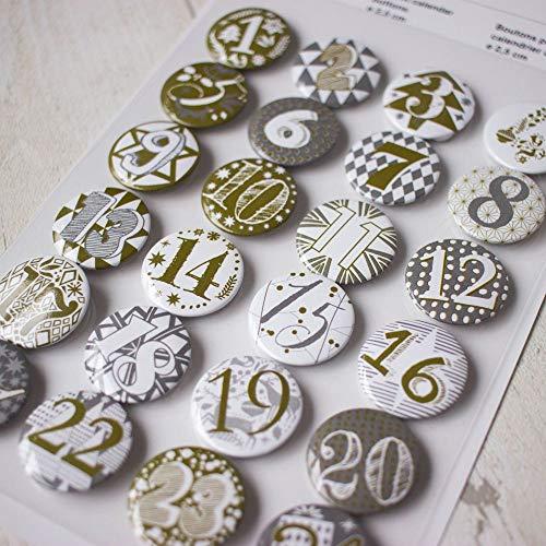 RICO DESIGN GmbH & Co. KG Adventskalender Buttons - 25mm 24 Stück Gold/Silber