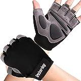 Grebarley guantes de gimnasio sin dedos para levantamiento de pesas, entrenamiento cruzado, ciclismo para mujer y hombre(gris oscuro, l)