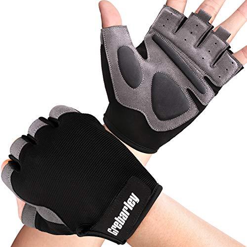 Grebarley Fitness Handschuhe,Trainingshandschuhe für Damen und Herren - Fitness Handschuhe ohne Handgelenkstütze für Krafttraining, Bodybuilding, Kraftsport & Crossfit Training (Schwarz grau, L)