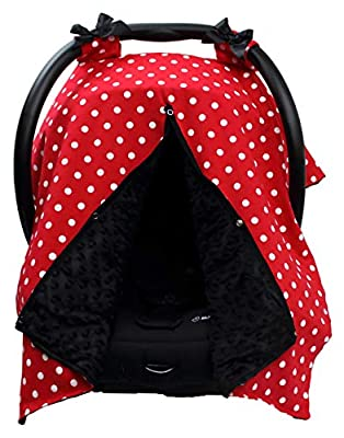 Dear Baby Gear Carseat Canopy, Polka Dots White on Red, Black Minky