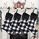 Senneny Christmas Stockings- 4 Pack 18' Black White Buffalo Plaid Christmas Stockings with Plush Faux Fur Cuff, Classic Large Christmas Stockings Decorations for Family Christmas Holiday Party Decor