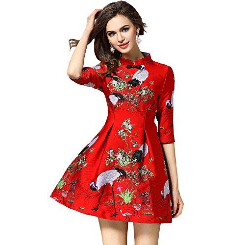 G-LIKE Chinesisches Retro-Kleid Cheongsam Bluse - Traditionelles Qipao Tang Etuikleid Orientalisch Gemustert Rotkronen Kran Hochzeit Abend Freizeitkleidung Outfit Stehkragen Kostüm (Rot, M)