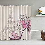Kgblfd Cortina de Ducha Impermeable,Vintage Paris Torre Eiffel Rosa Zapatos Altos Flor para niña Gato Creativo Romántico Francia Mujeres Europeas Retro,Cortinas de baño con 12 Ganchos