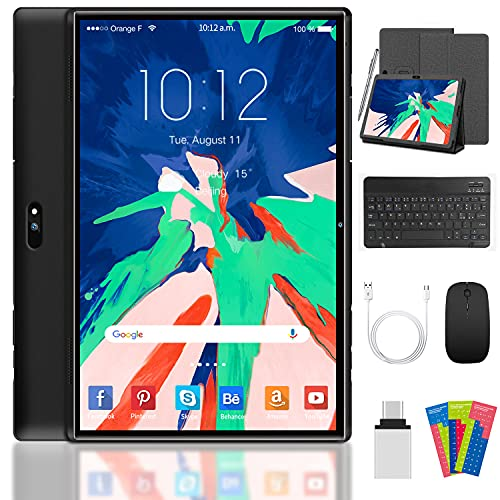 10 Inch Tablet Android 10 Tablets,32GB ROM, 3GB RAM,Quad-core-Procesor 5MP+8MP Rear Camera 4G LTE 8000mAh Battery Life,WIFI,Bluetooth,GPS,GMS(Black)
