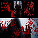 Halloween Bloody Party Decorations Window Decals Wall Floor Clings, Bloody Handprint Footprint, Horror Bathroom Zombie Decorations Supplies, Spooky Stickers Decals for Haunted House Supplies(8 Set)