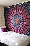 Marubhumi Indian Mandala Tapestry, Indian Hippie Hippy Wall Hanging, Bohemian Twin Wall Hanging Tapestries, Bedspread Beach Tapestry (Purple, Twin Size, 85 x 55 Inch)