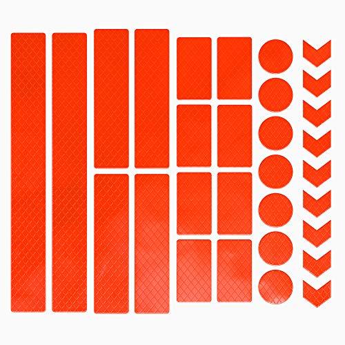 EAZY CASE 30 x Leuchtaufkleber, Reflektierende Aufkleber, Reflektor Band, Sicherheit im Dunkeln, wasserfest, selbstklebend für Fahrrad, Kinderwagen, Schulranzen, Rucksack, Kleidung, Neon Orange