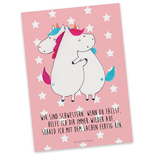 Mr. & Mrs. Panda Karte, Einladung, Postkarte Einhörner Umarmen mit Spruch - Farbe Rot Pastell