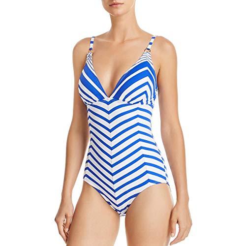 Tommy Bahama Blue Beach Glass Stripe V-Neck One Piece Swimsuit Size 4