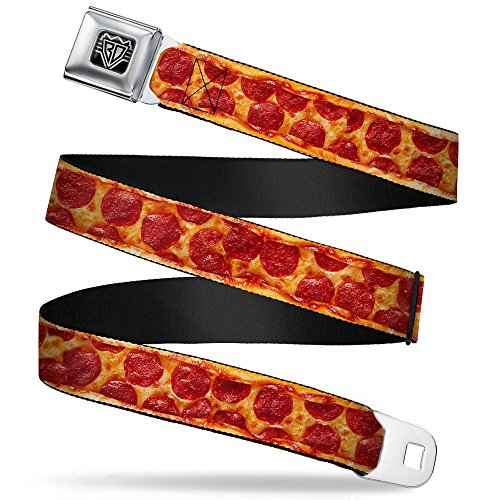 Buckle-Down Unisex-Adult's Seatbelt Belt Pizza XL, Pepperoni Crust Vivid, 1.5' Wide-32-52 Inches
