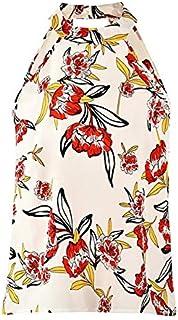 XuBa Tank Top Women Summer Sexy Hollow Sleeveless Halter Vest Top Floral Print Beach Loose Shirt Female Plus Size