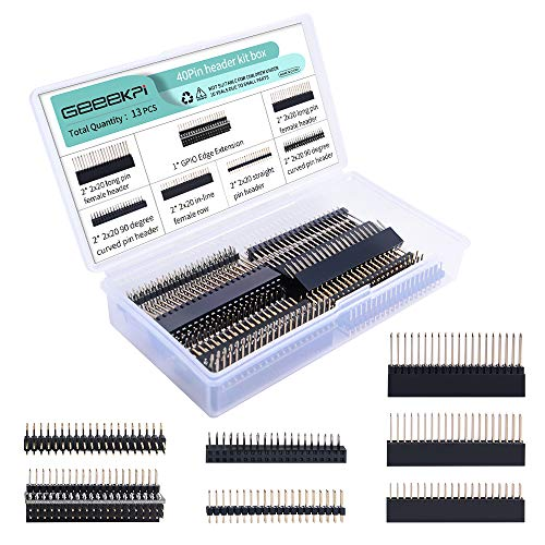 GeeekPi 2x20 40 Pin Stacking Female Header Kit for Raspberry Pi 4B/3B+/3B/2B/B+/A+/Zero(Zero W)/Jetson Nano/Tinker board(7 specifications)(13Pcs in Total)