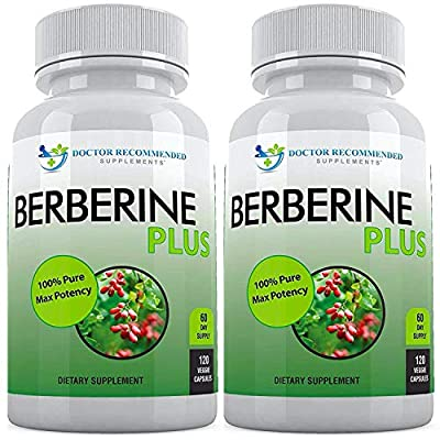Berberine Plus 1200mg Per Serving, Royal Jelly, Supports Glucose Metabolism, Healthy Immune System, Promotes Weight Loss, Improves Cardiovascular Heart (Pack of 2-240 Veggie Capsules)