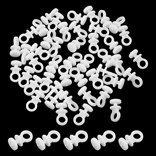 PLCatis Juego de 100 Ganchos Deslizantes para Rieles de Cortinas Ganchos de Cortina de Plástico Silenciosos Deslizador de Riel de Cortina - Blanco